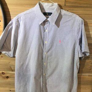 Searsucker Men's Polo Dress Shirt